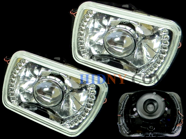 "H6052 7x6"" Sealed Beam Headlights Projector W/ LED Ring Kit"